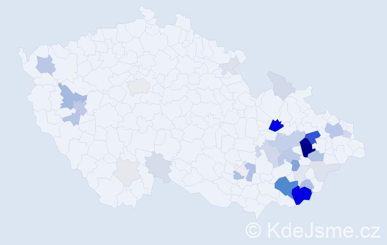 Příjmení: 'Klabačka', počet výskytů 107 v celé ČR