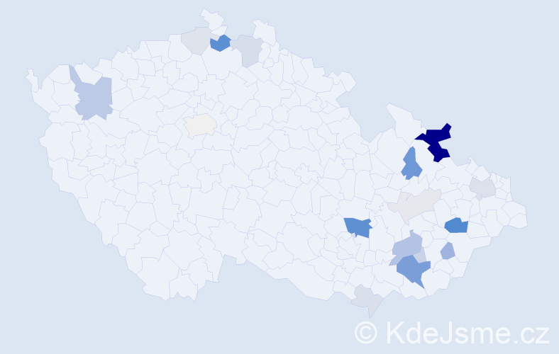 Příjmení: 'Hasmanda', počet výskytů 61 v celé ČR