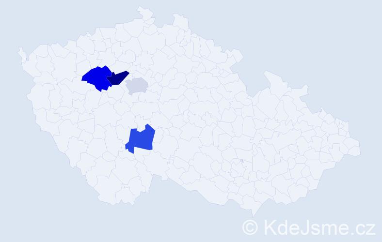 Příjmení: 'Baldýnský', počet výskytů 5 v celé ČR