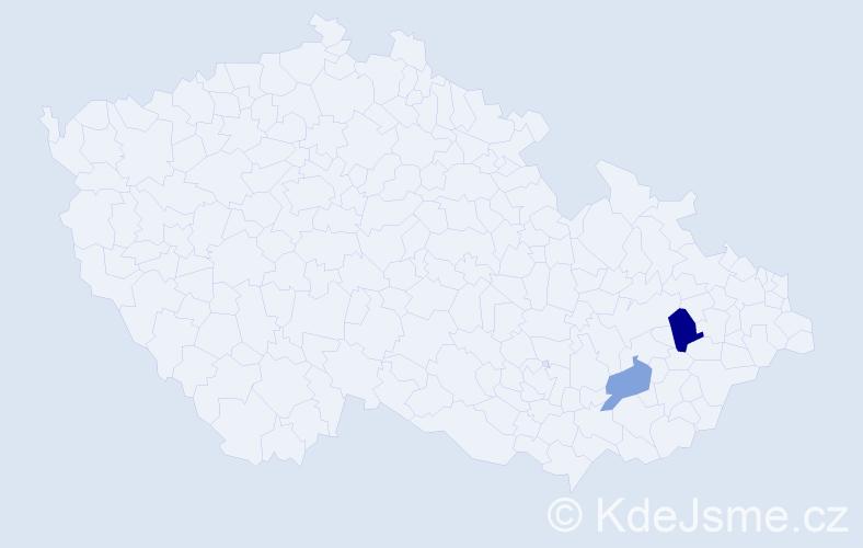 Příjmení: 'Kodnar', počet výskytů 3 v celé ČR
