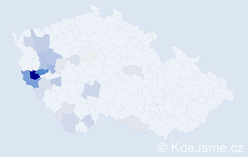 Příjmení: 'Kaasová', počet výskytů 82 v celé ČR