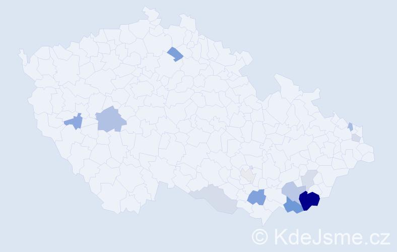 Příjmení: 'Breznická', počet výskytů 28 v celé ČR