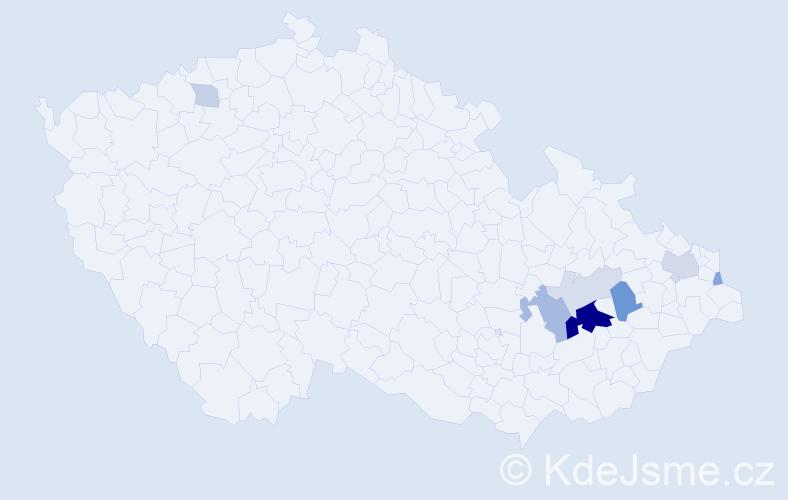 Příjmení: 'Ištanková', počet výskytů 21 v celé ČR