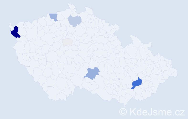 Příjmení: 'Ďurčák', počet výskytů 18 v celé ČR
