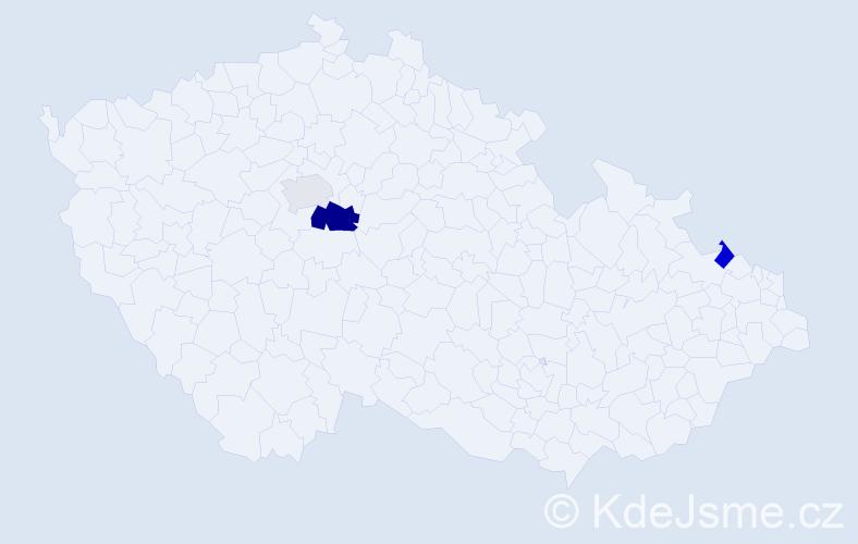 Příjmení: 'Ihnačáková', počet výskytů 5 v celé ČR