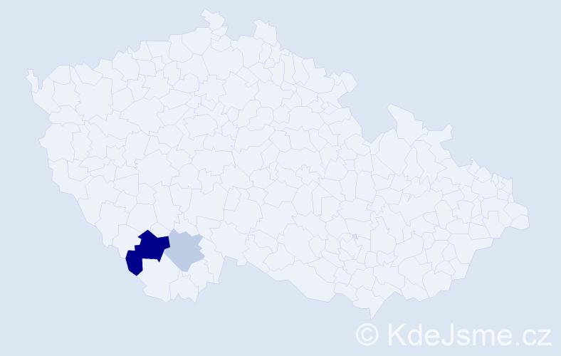 Příjmení: 'Habertová', počet výskytů 4 v celé ČR