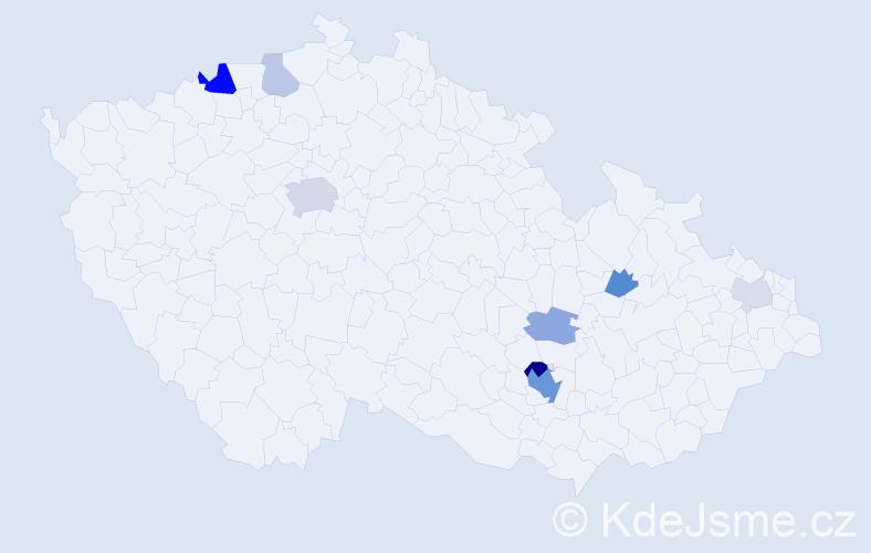 Příjmení: 'Gheorghe', počet výskytů 21 v celé ČR