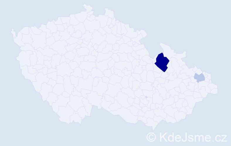 Příjmení: 'Kally', počet výskytů 4 v celé ČR