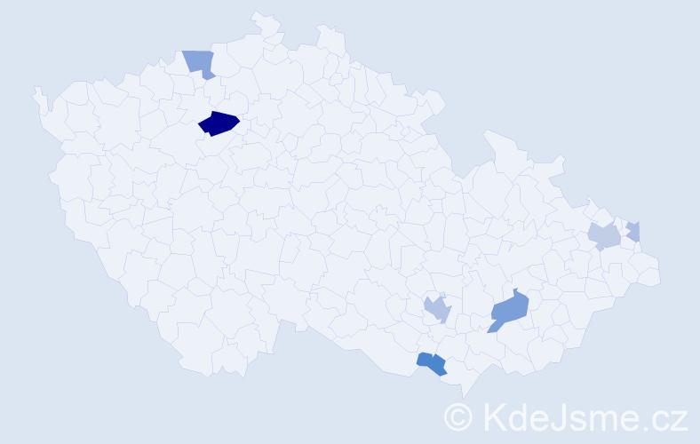 Příjmení: 'Grígerová', počet výskytů 15 v celé ČR