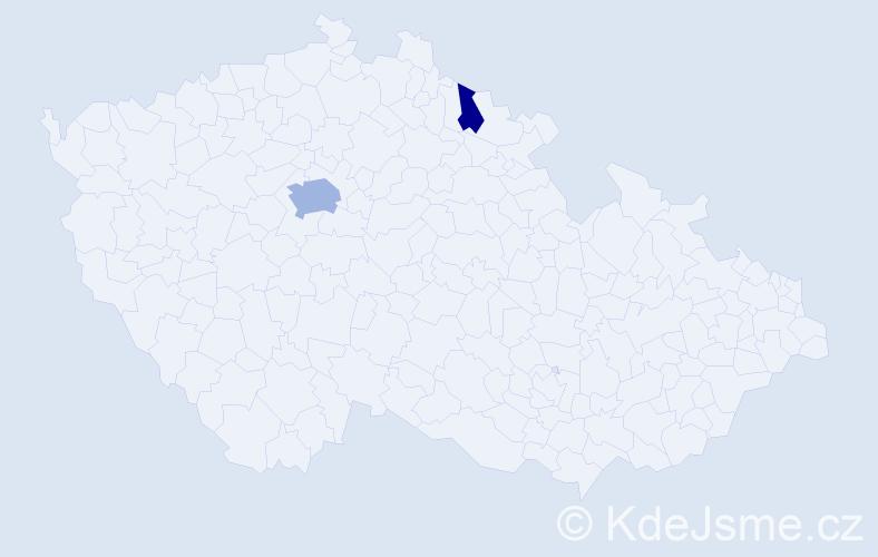 Příjmení: 'Gerleová', počet výskytů 5 v celé ČR