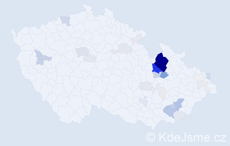 Příjmení: 'Jáně', počet výskytů 123 v celé ČR