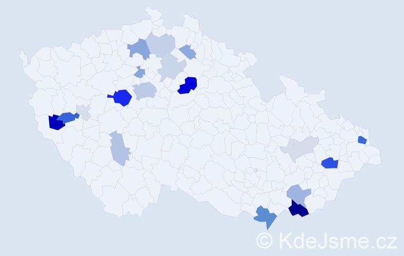 Příjmení: 'Leták', počet výskytů 57 v celé ČR