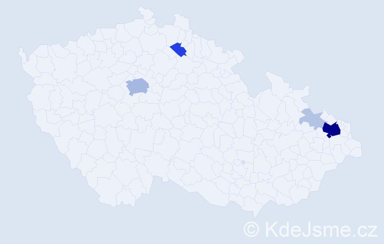 Příjmení: 'Kanclíř', počet výskytů 32 v celé ČR