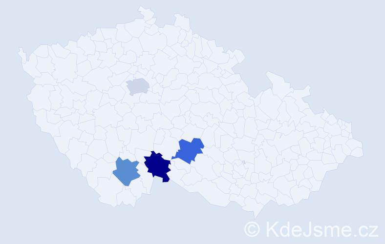 Příjmení: 'Baczka', počet výskytů 4 v celé ČR