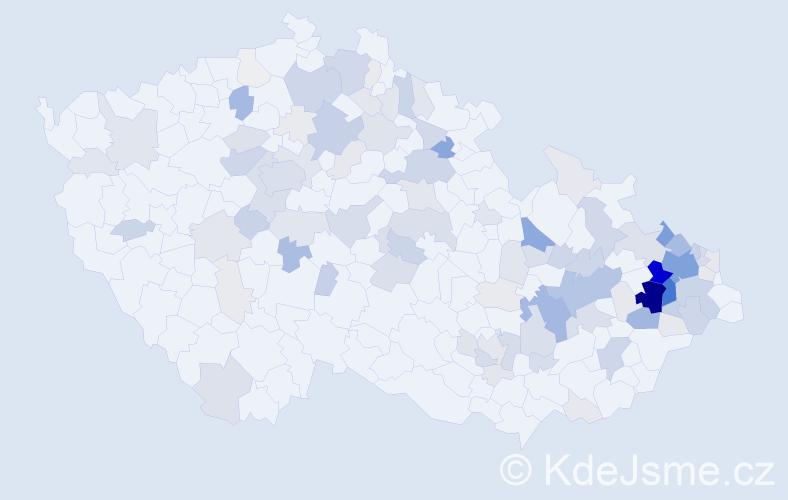Příjmení: 'Klos', počet výskytů 445 v celé ČR
