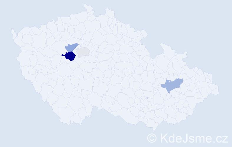 Příjmení: 'Kanhäuser', počet výskytů 6 v celé ČR