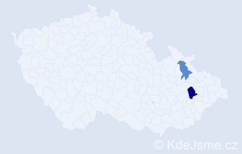 Příjmení: 'Judiak', počet výskytů 3 v celé ČR