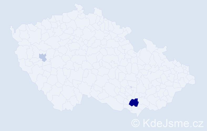 Příjmení: 'Hančkrová', počet výskytů 7 v celé ČR