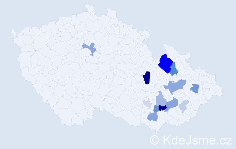 Příjmení: 'Hoždorová', počet výskytů 29 v celé ČR