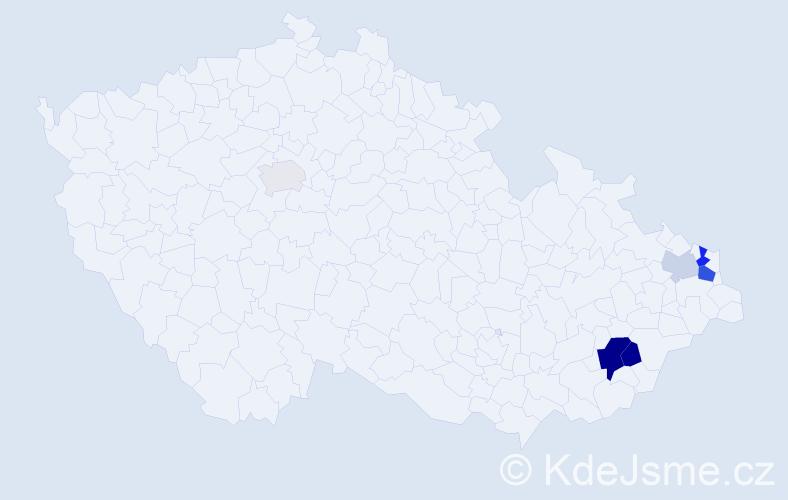 Příjmení: 'Bošan', počet výskytů 13 v celé ČR