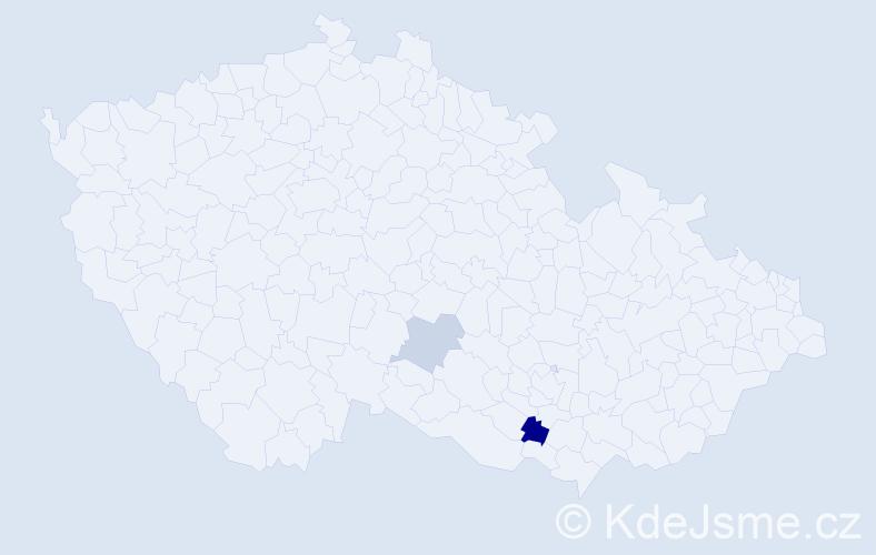 Příjmení: 'Ďubašáková', počet výskytů 3 v celé ČR