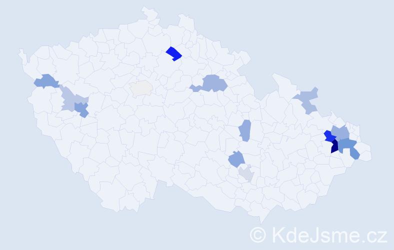 Příjmení: 'Benišová', počet výskytů 39 v celé ČR