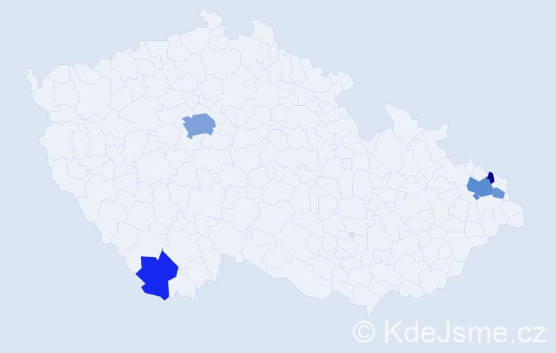 Příjmení: 'Fellegi', počet výskytů 12 v celé ČR