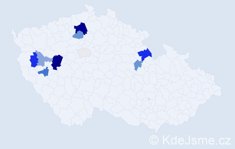 Příjmení: 'Jurista', počet výskytů 17 v celé ČR