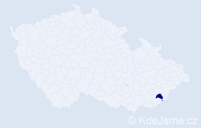 """Příjmení: '""""Gergelová Richterová""""', počet výskytů 1 v celé ČR"""