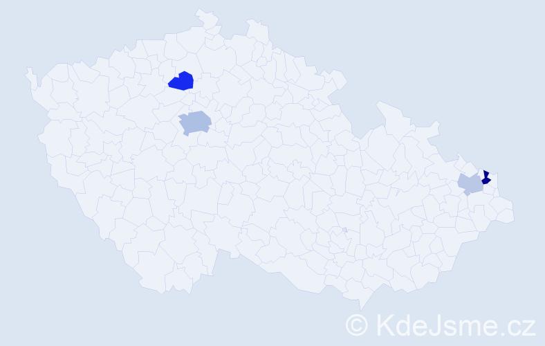 Příjmení: 'Becík', počet výskytů 8 v celé ČR