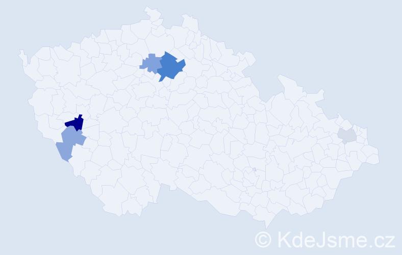 Příjmení: 'Cinnerová', počet výskytů 9 v celé ČR