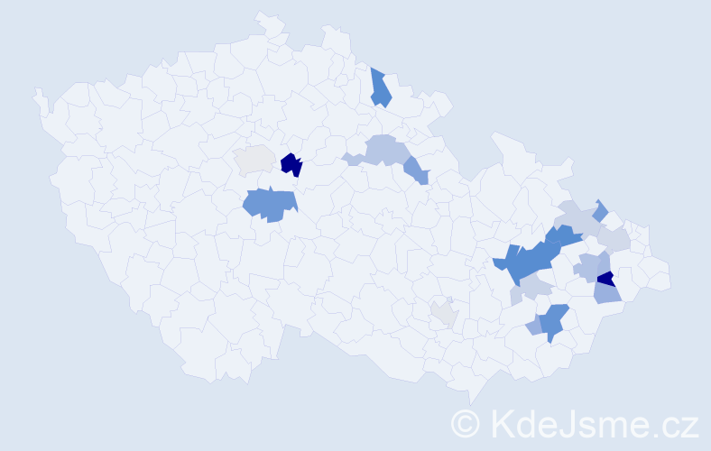 Příjmení: 'Kašlíková', počet výskytů 40 v celé ČR