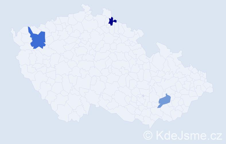 Příjmení: 'Gašica', počet výskytů 4 v celé ČR