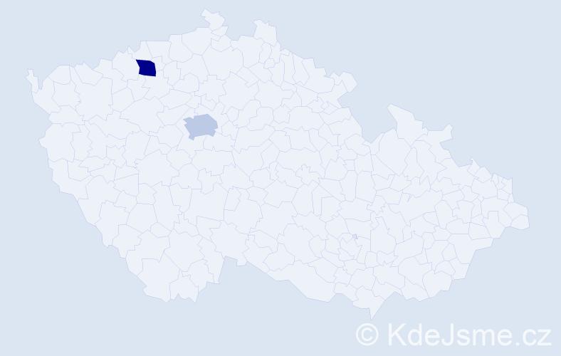 """Příjmení: '""""Espinoza Sosa""""', počet výskytů 2 v celé ČR"""