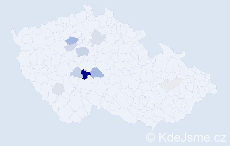 Příjmení: 'Bořkovec', počet výskytů 46 v celé ČR