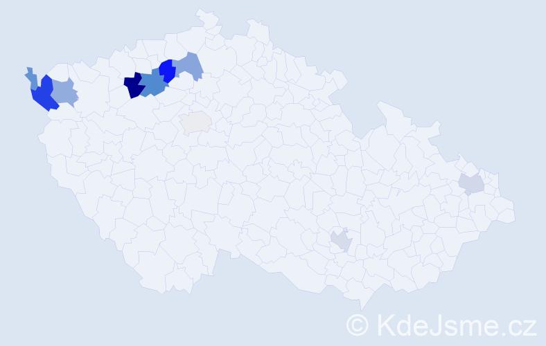 Příjmení: 'Hruzová', počet výskytů 25 v celé ČR