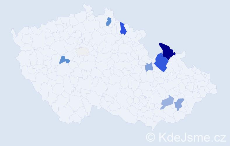 Příjmení: 'Joklíková', počet výskytů 30 v celé ČR
