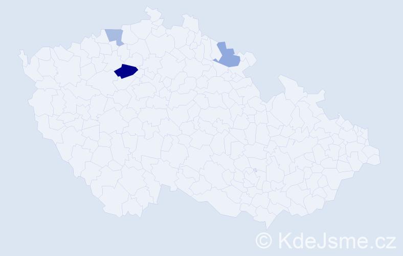 Příjmení: 'Kvacskaiová', počet výskytů 5 v celé ČR