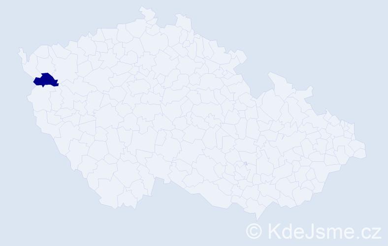 """Příjmení: '""""Kozicová Kávová""""', počet výskytů 1 v celé ČR"""