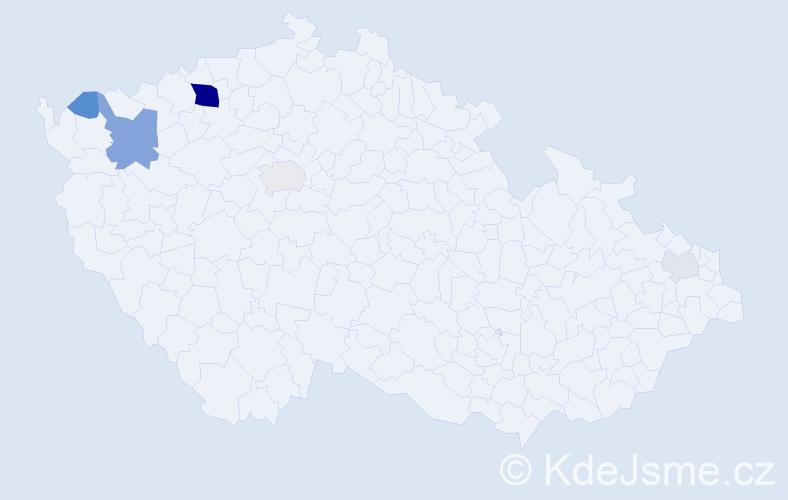 Příjmení: 'Kešely', počet výskytů 18 v celé ČR