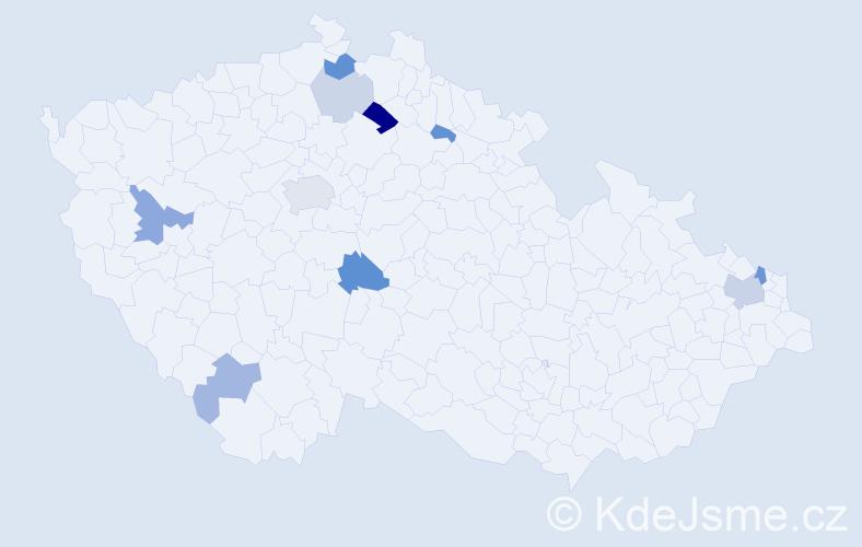 Příjmení: 'Čorba', počet výskytů 21 v celé ČR