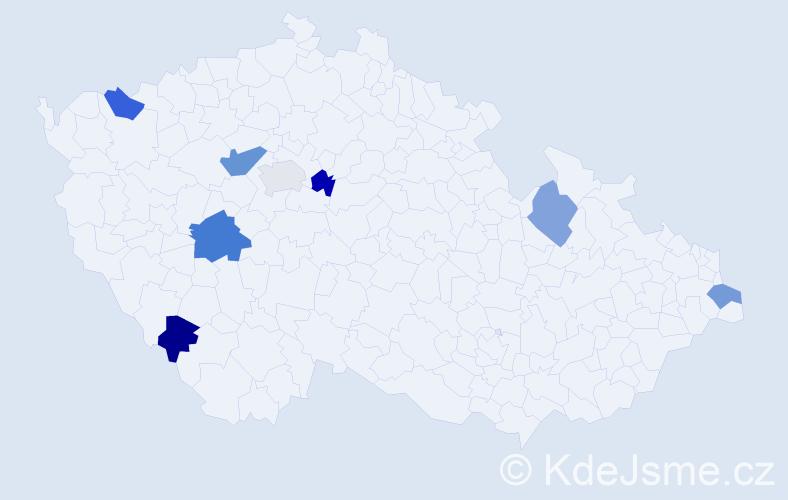Příjmení: 'Jadwiszczoková', počet výskytů 10 v celé ČR