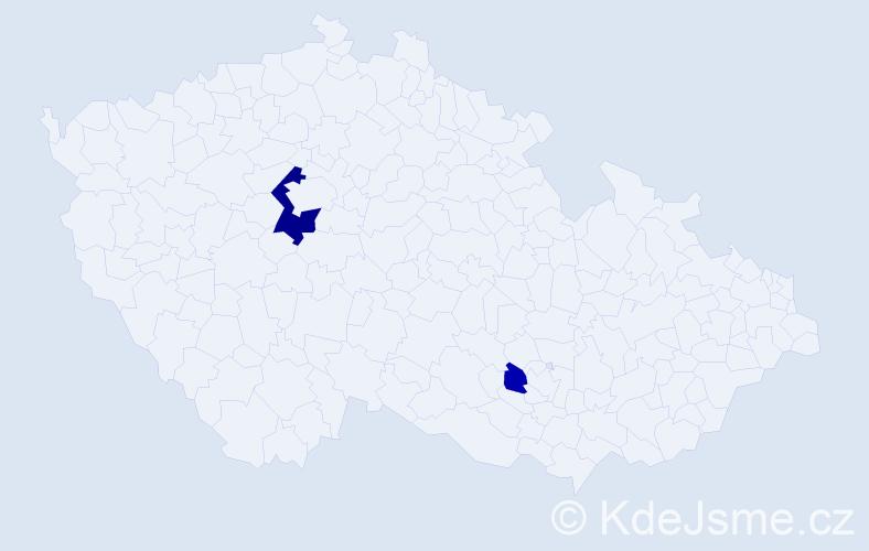 Příjmení: 'Jenická', počet výskytů 5 v celé ČR