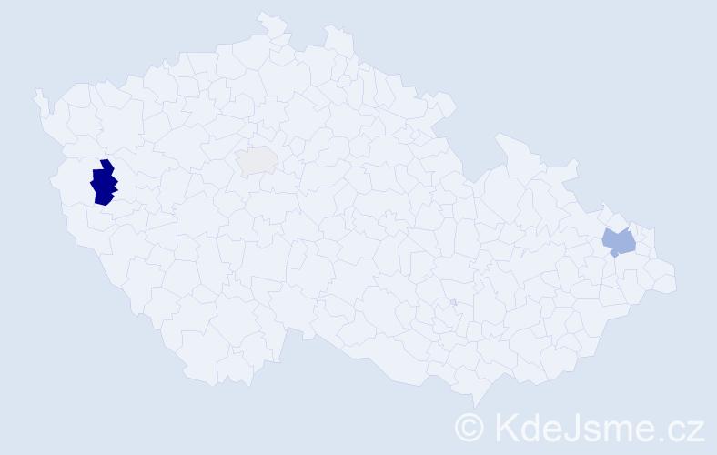 Příjmení: 'Bogdanský', počet výskytů 7 v celé ČR