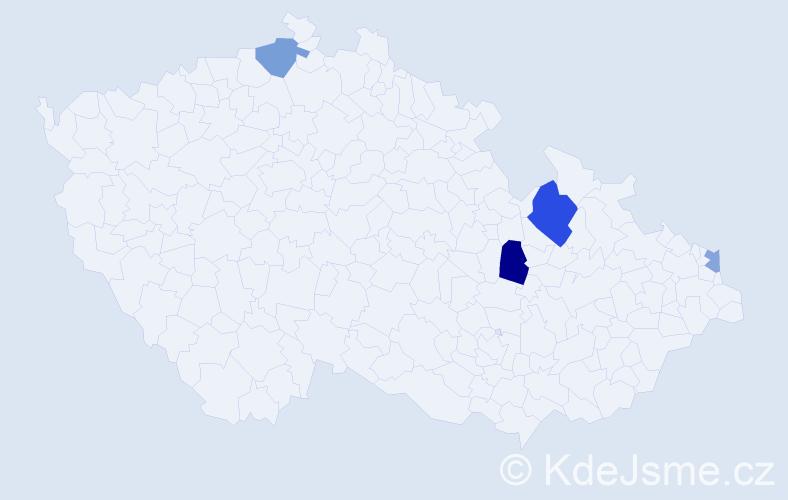 Příjmení: 'Dofka', počet výskytů 20 v celé ČR