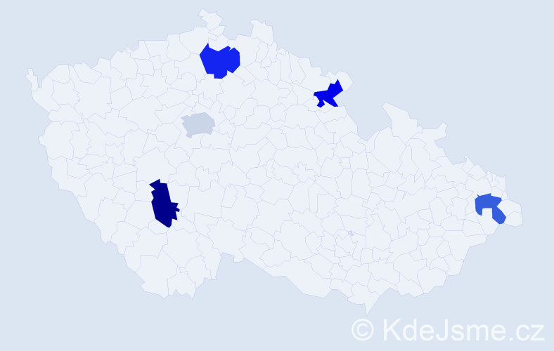 Příjmení: 'Carterová', počet výskytů 5 v celé ČR