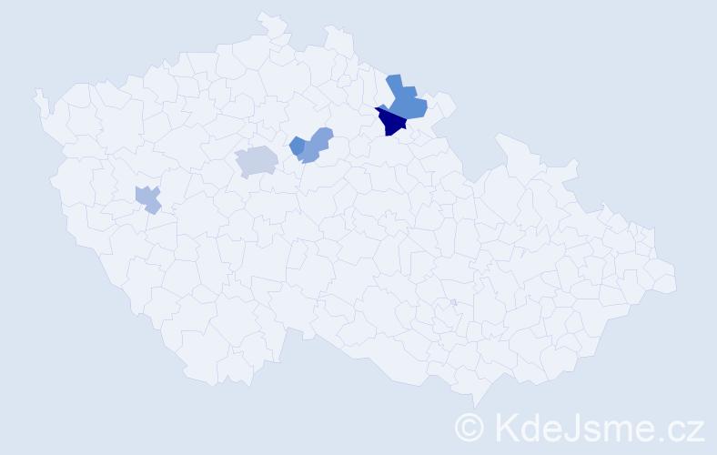 Příjmení: 'Klikošová', počet výskytů 16 v celé ČR