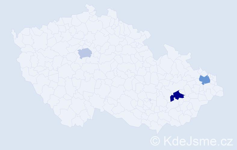 Příjmení: 'Čenščáková', počet výskytů 3 v celé ČR