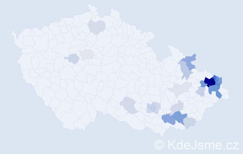 Příjmení: 'Gojová', počet výskytů 107 v celé ČR