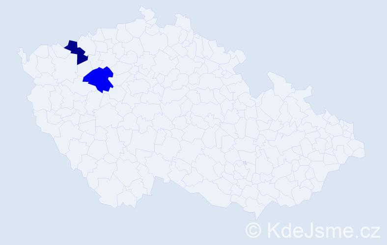Příjmení: 'Hajči', počet výskytů 2 v celé ČR